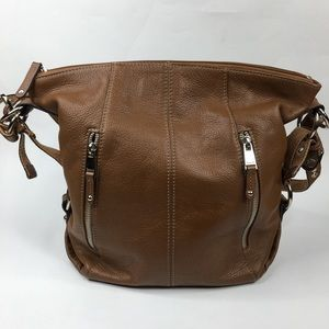 Tignanello Peeble Leather Cognac Shoulder Bag